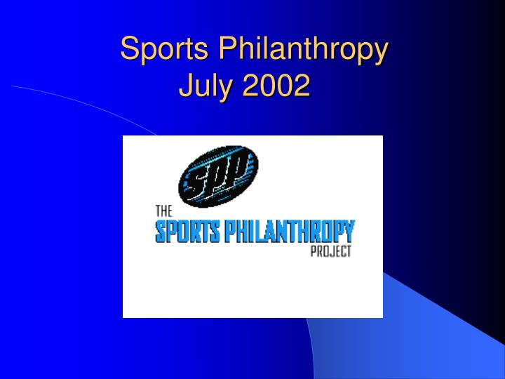 sports philanthropy july 2002 n.
