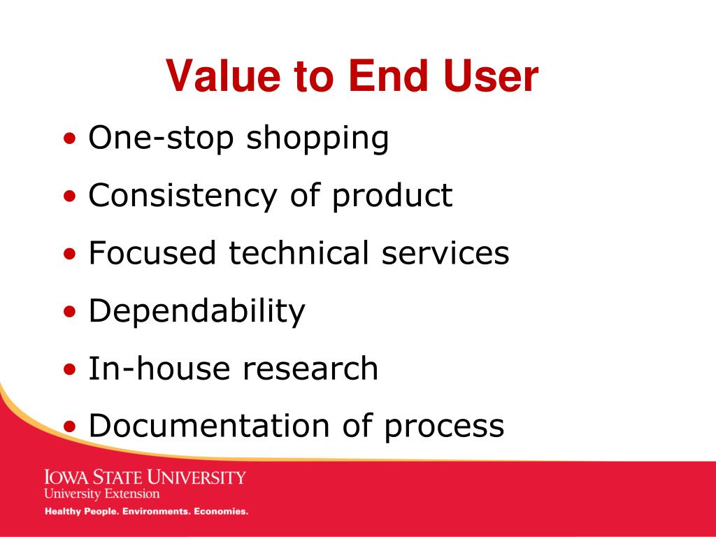 Value to End User