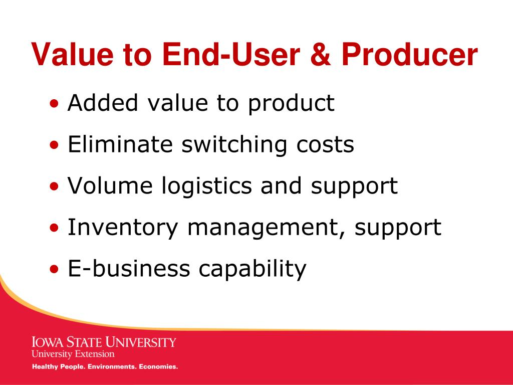 Value to End-User & Producer