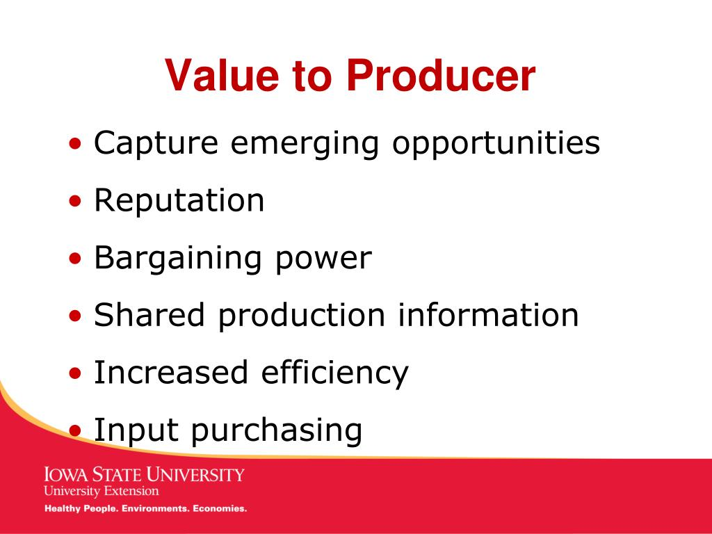 Value to Producer