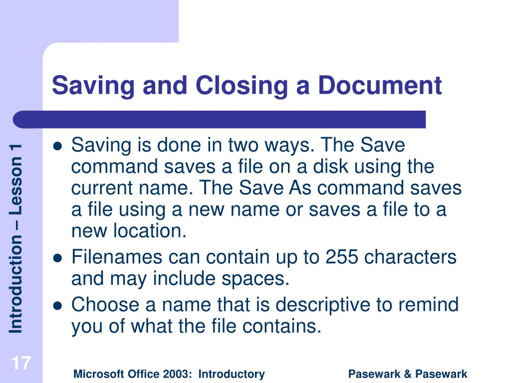 Saving and Closing a Document