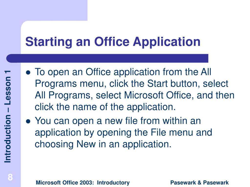 Starting an Office Application