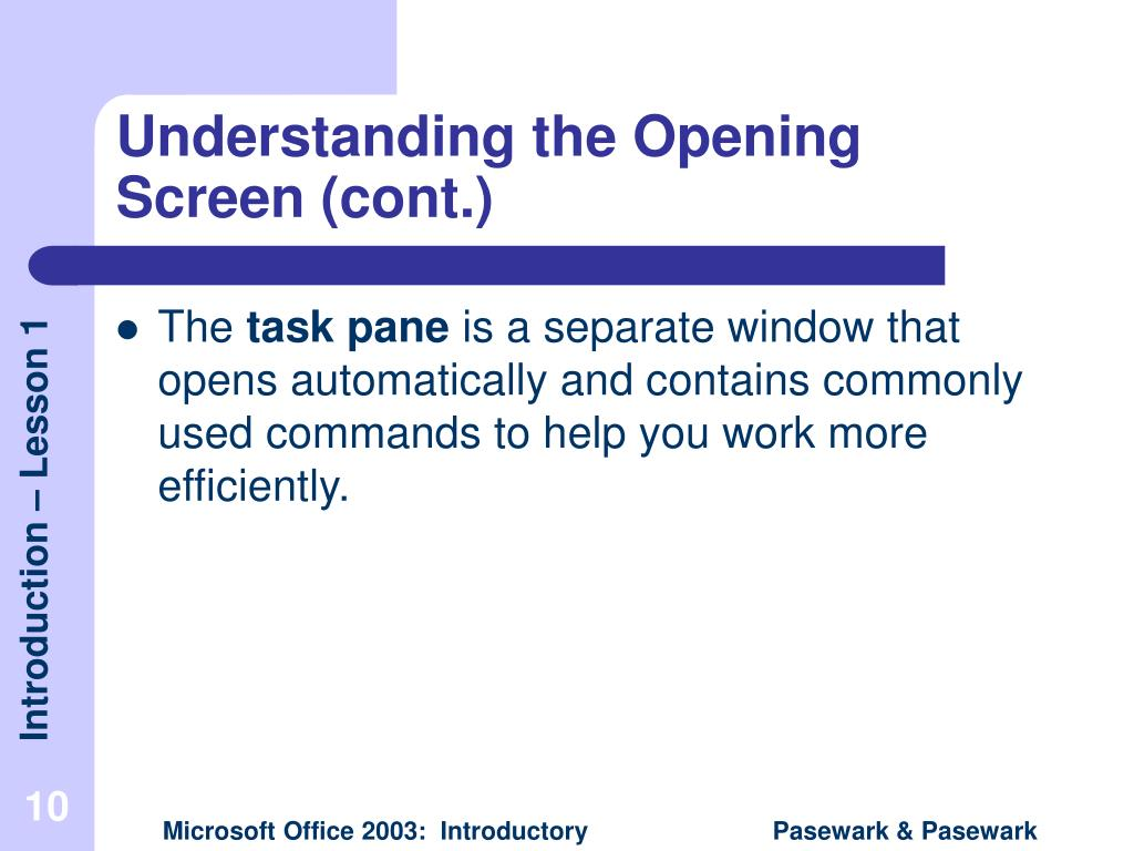 Understanding the Opening Screen (cont.)