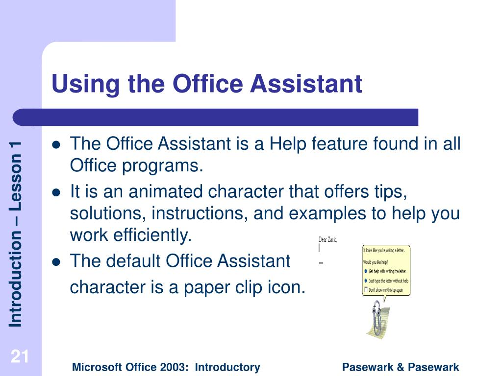 Using the Office Assistant