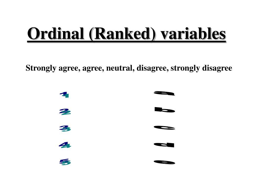Ordinal (Ranked) variables
