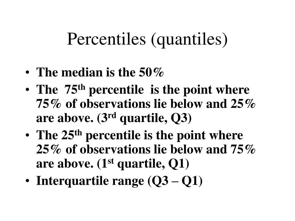 Percentiles (quantiles)