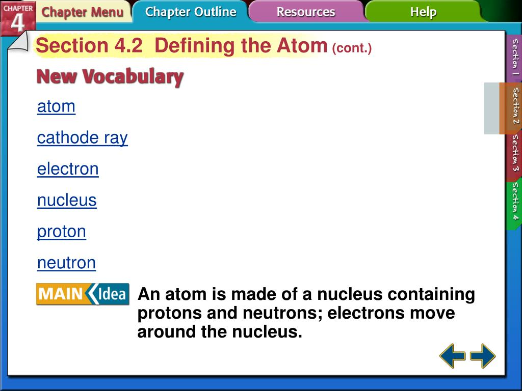 Section 4.2  Defining the Atom
