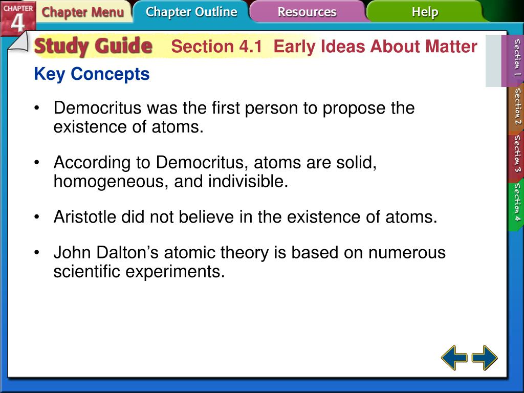 Section 4.1  Early Ideas About Matter