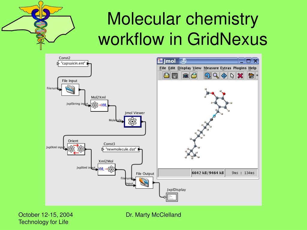 Molecular chemistry workflow in GridNexus