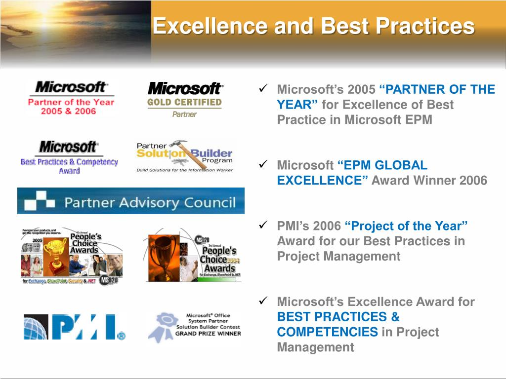 Excellence and Best Practices