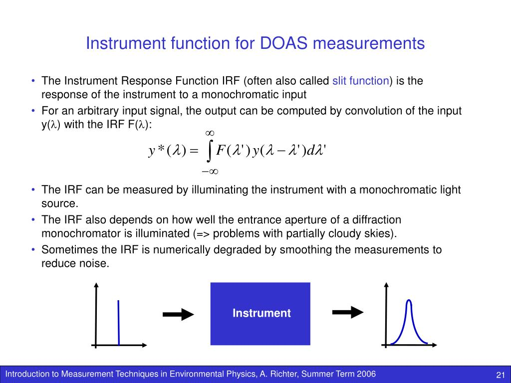 Instrument function for DOAS measurements