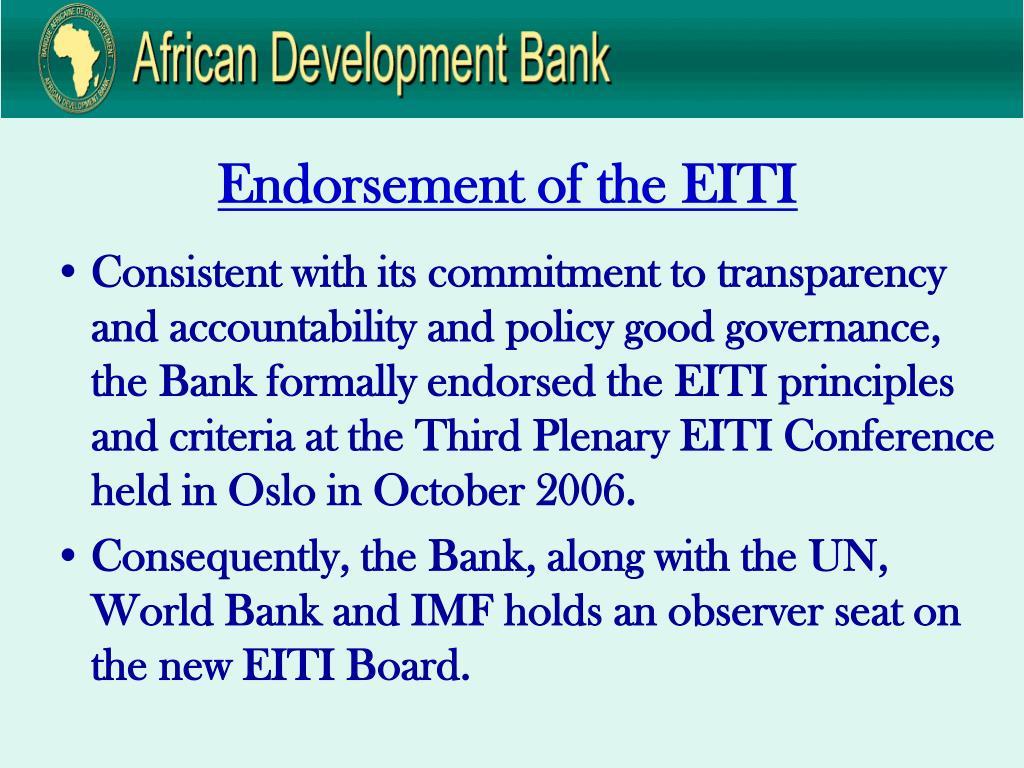 Endorsement of the EITI