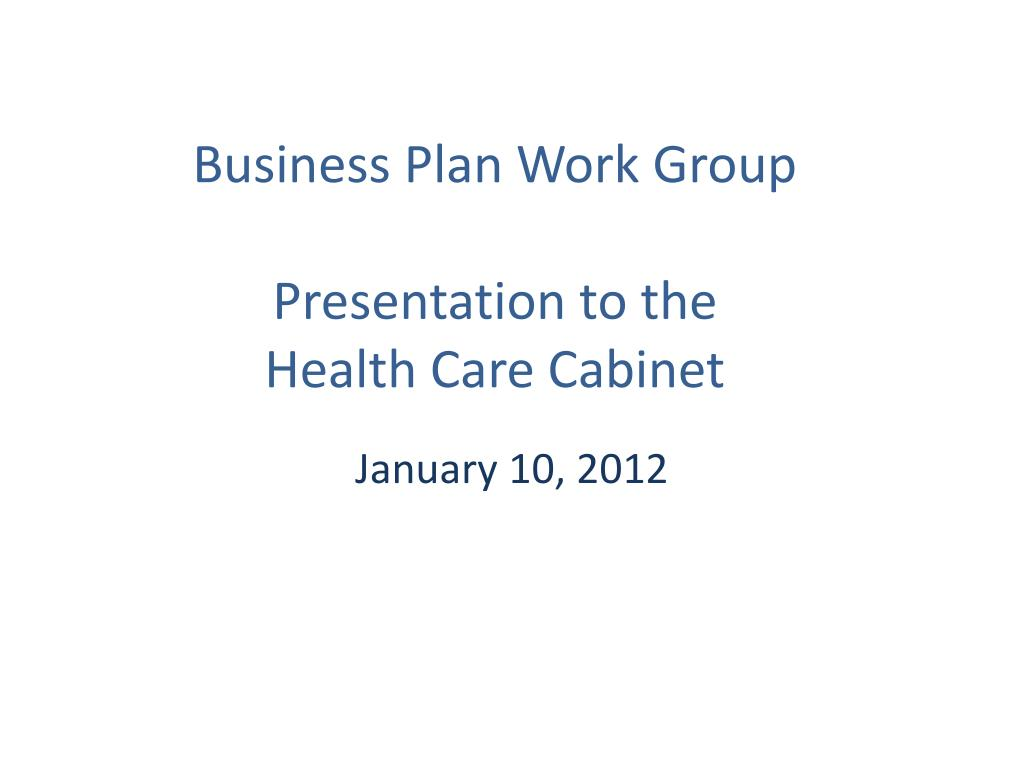 business plan work group presentation to the health care cabinet l.