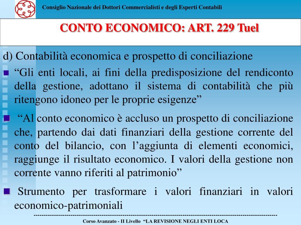 d) Contabilità economica e prospetto di conciliazione