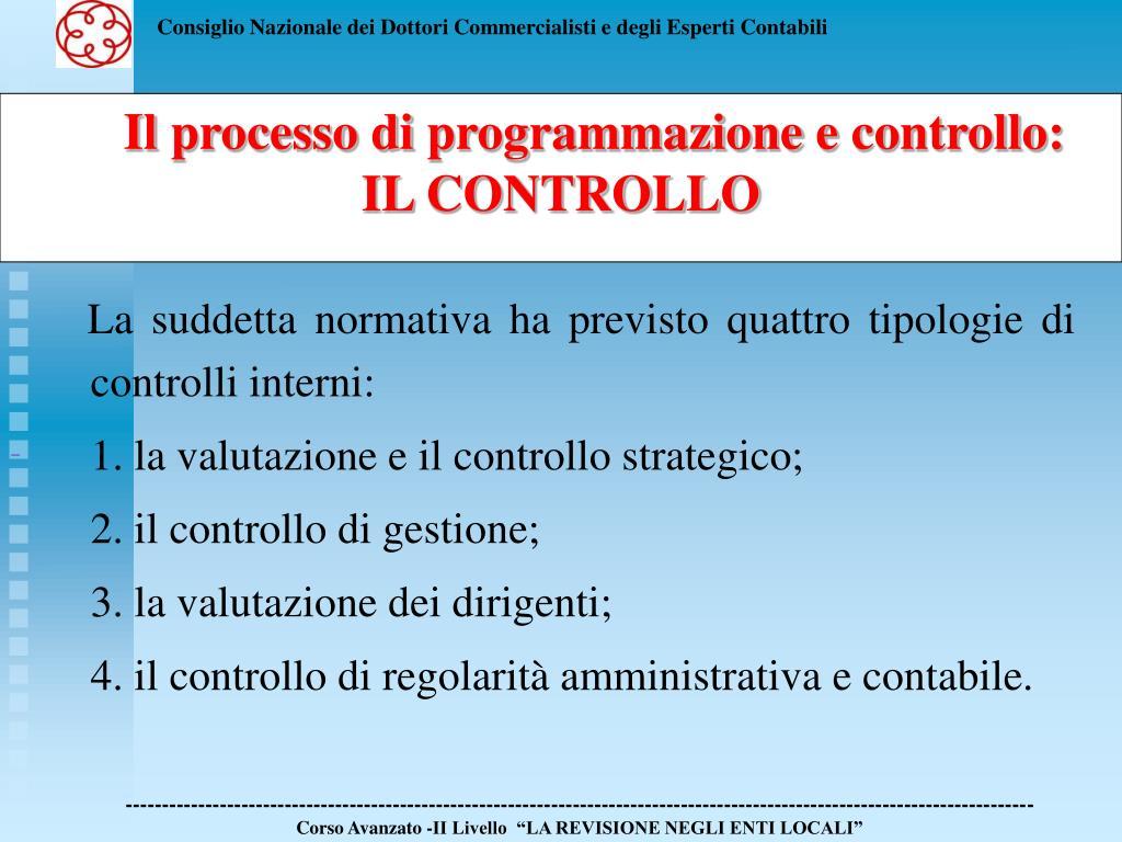 La suddetta normativa ha previsto quattro tipologie di controlli interni: