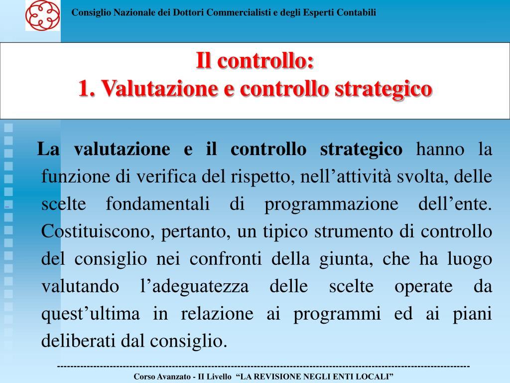 La valutazione e il controllo strategico