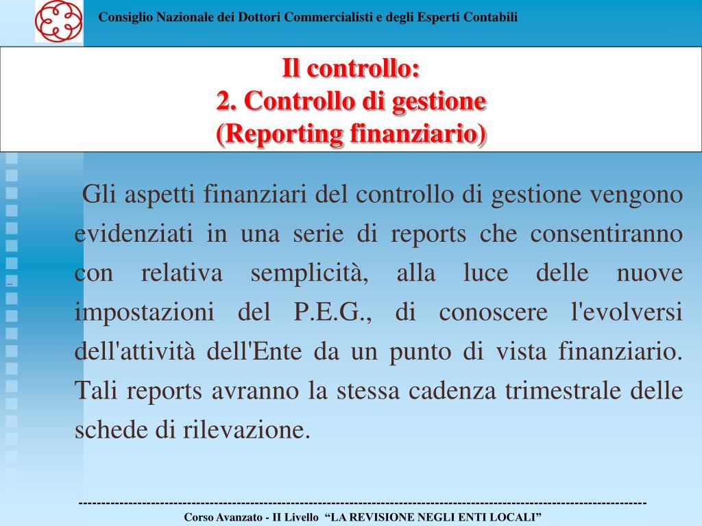 Gli aspetti finanziari del controllo di gestione vengono evidenziati in una serie di