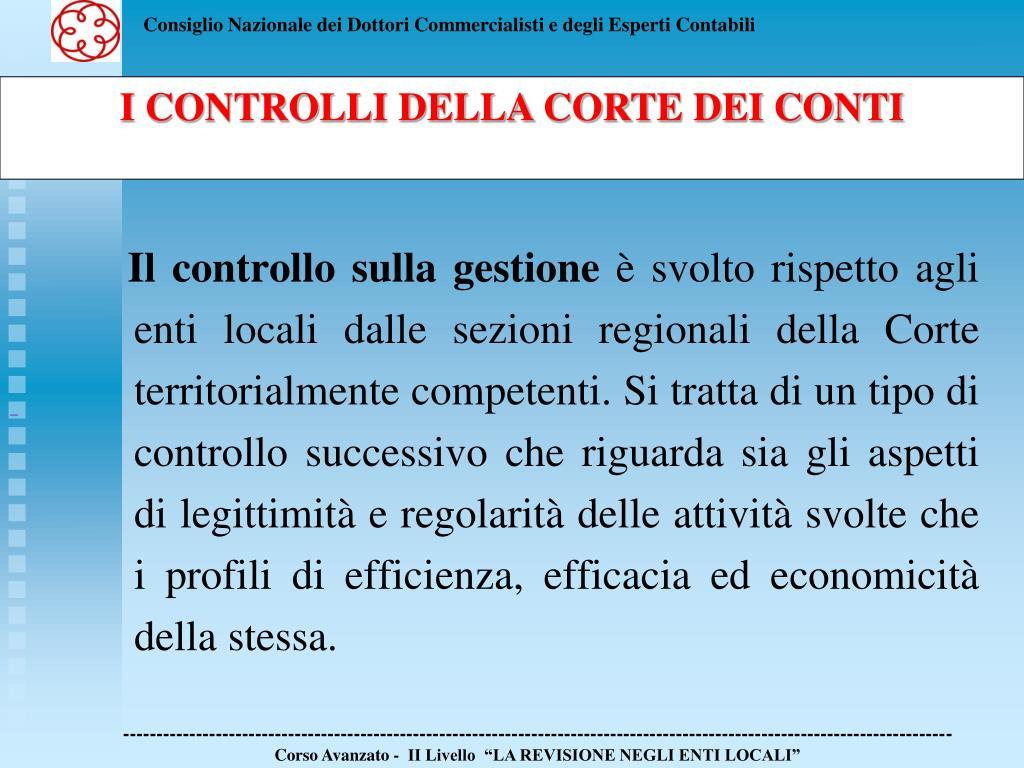 Il controllo sulla gestione