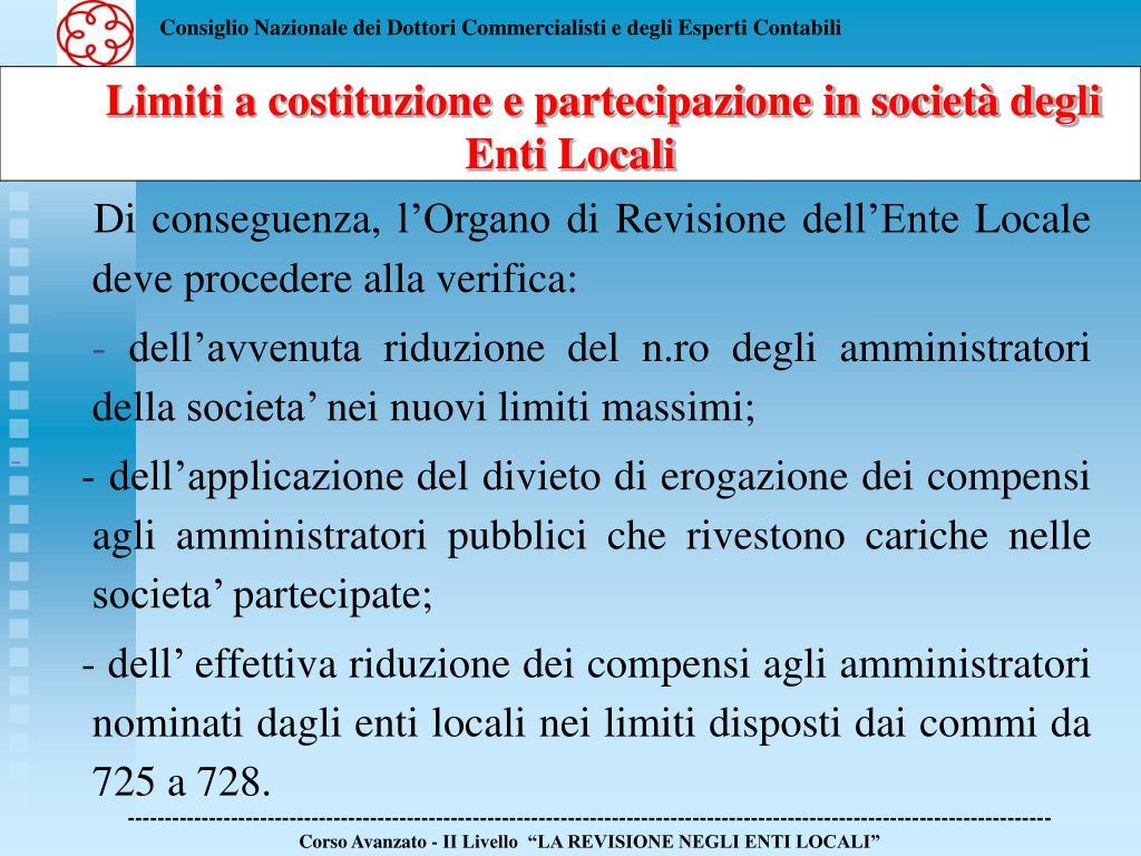 Limiti a costituzione e partecipazione in società degli Enti Locali