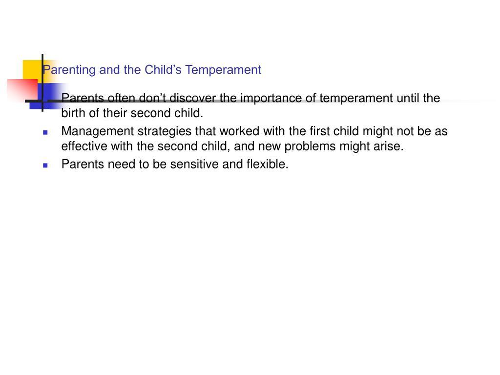 Parenting and the Child's Temperament