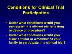 conditions for clinical trial participation40