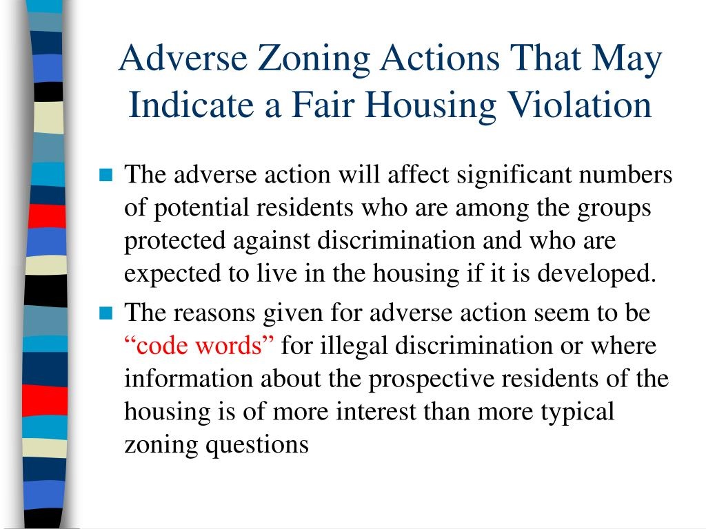 Adverse Zoning Actions That May Indicate a Fair Housing Violation