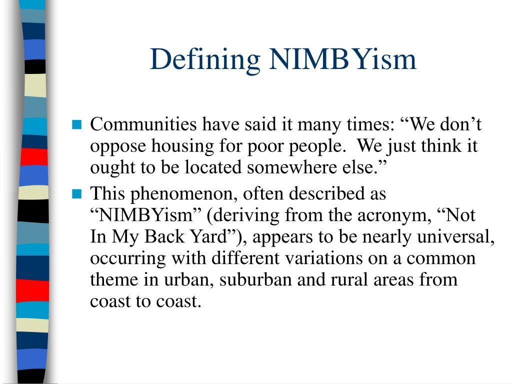 Defining NIMBYism