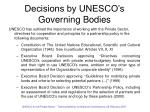 decisions by unesco s governing bodies