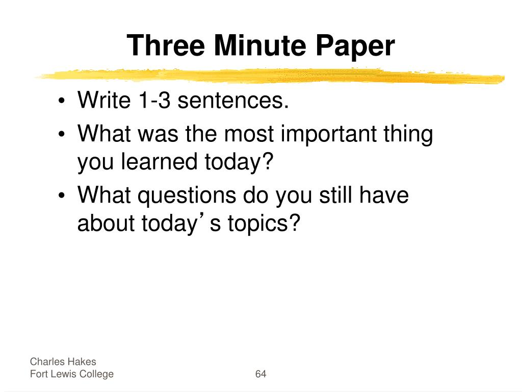 Three Minute Paper