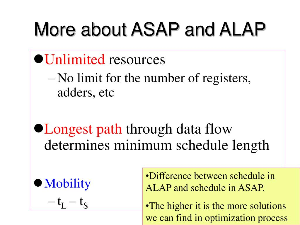 More about ASAP and ALAP