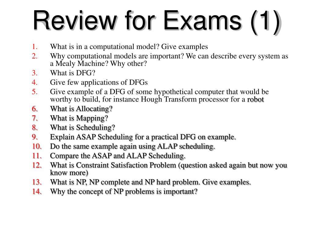 Review for Exams (1)