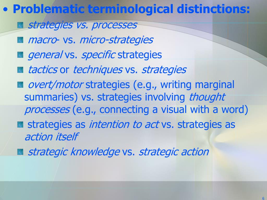 Problematic terminological distinctions: