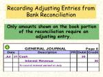recording adjusting entries from bank reconciliation