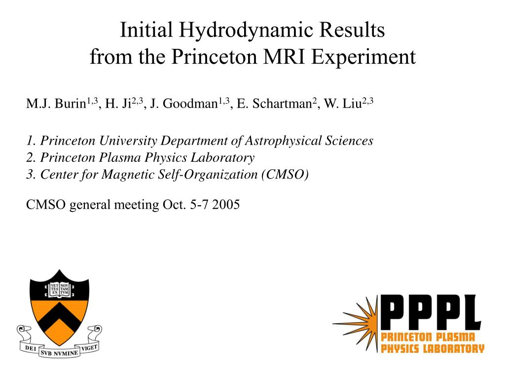 initial hydrodynamic results from the princeton mri experiment l.