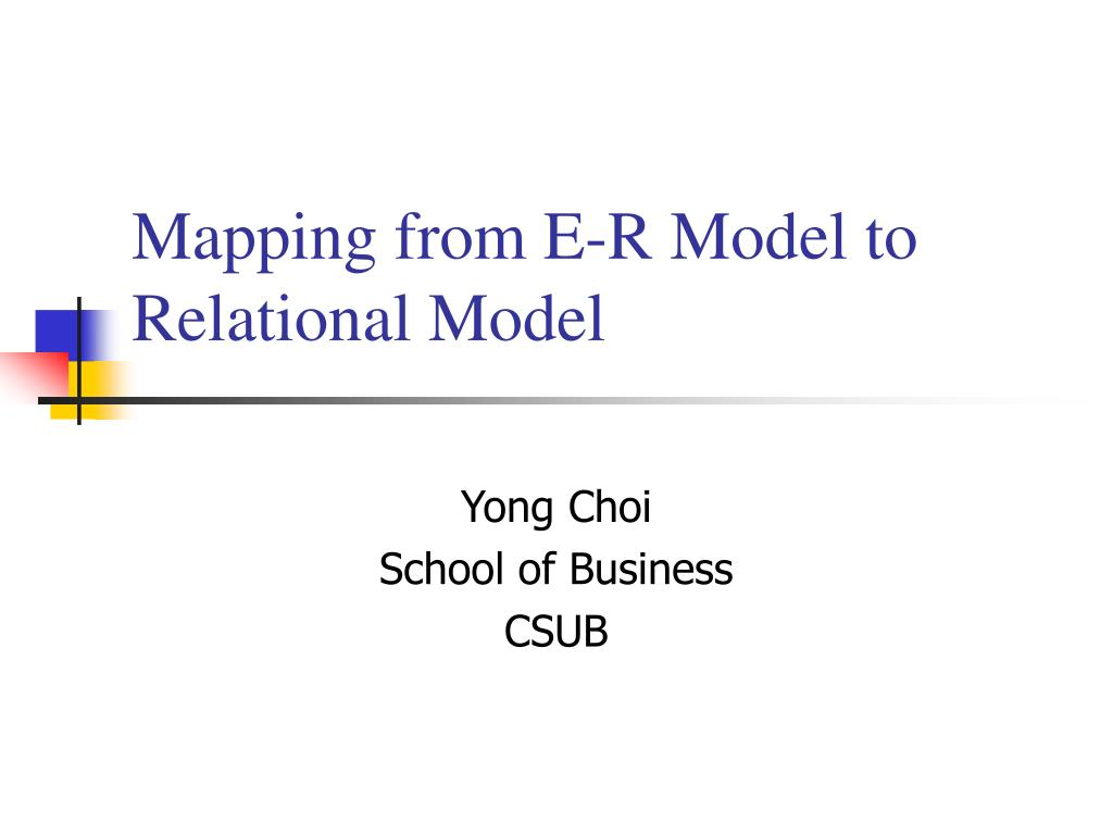 mapping from e r model to relational model l.