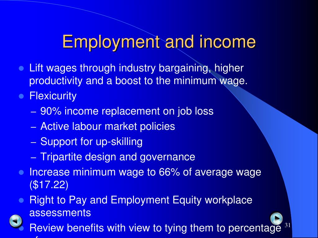 Employment and income