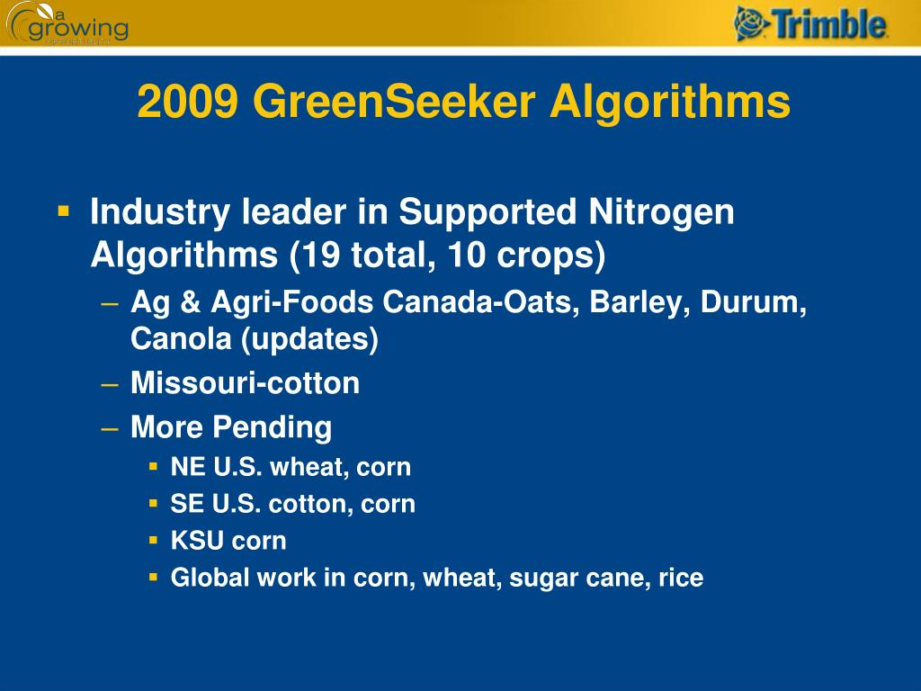 2009 GreenSeeker Algorithms