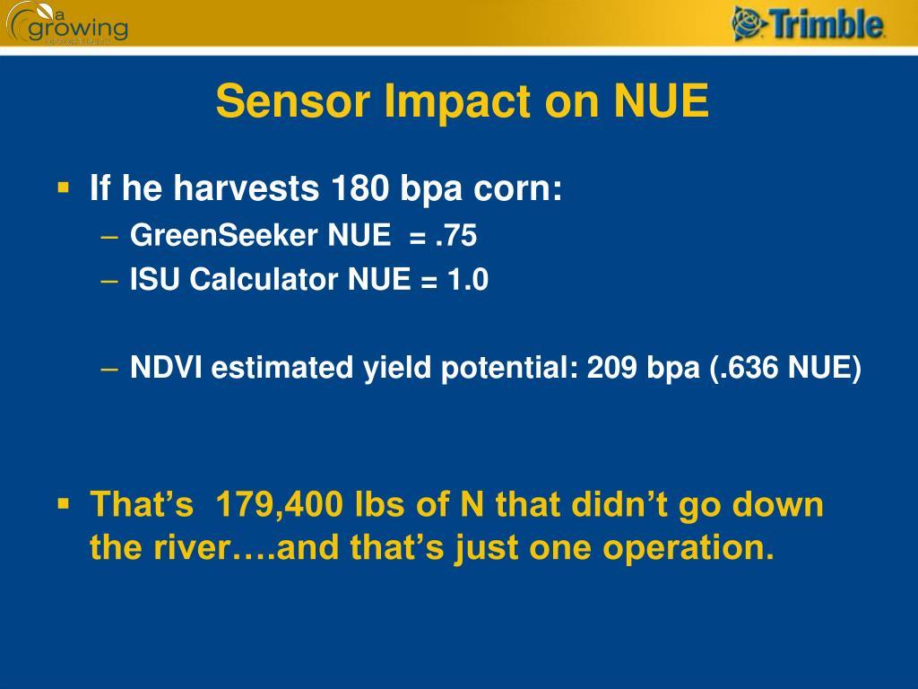 Sensor Impact on NUE