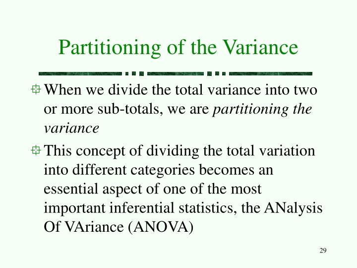 Partitioning of the Variance
