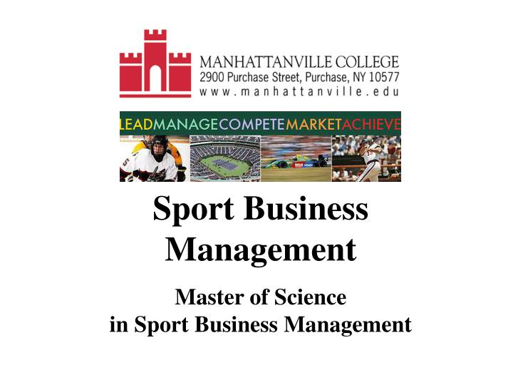 sport business management master of science in sport business management n.