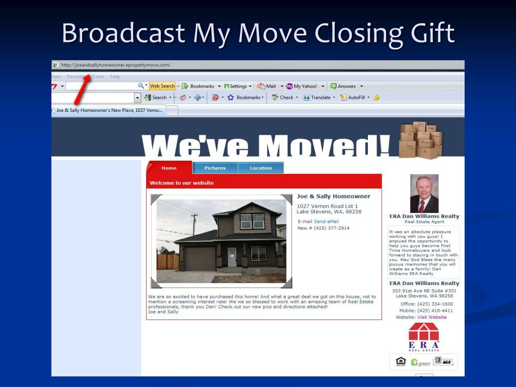 Broadcast My Move Closing Gift