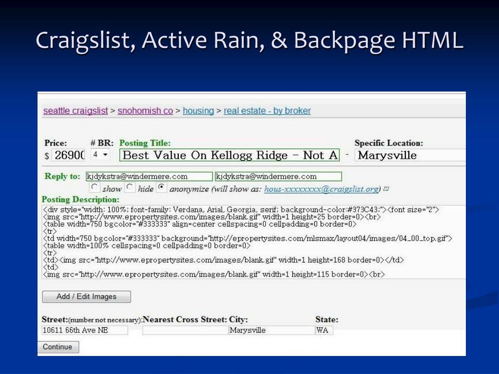 Craigslist, Active Rain, & Backpage HTML