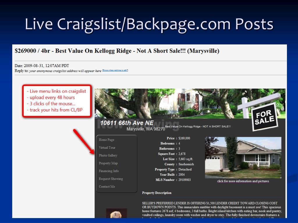 Live Craigslist/Backpage.com Posts