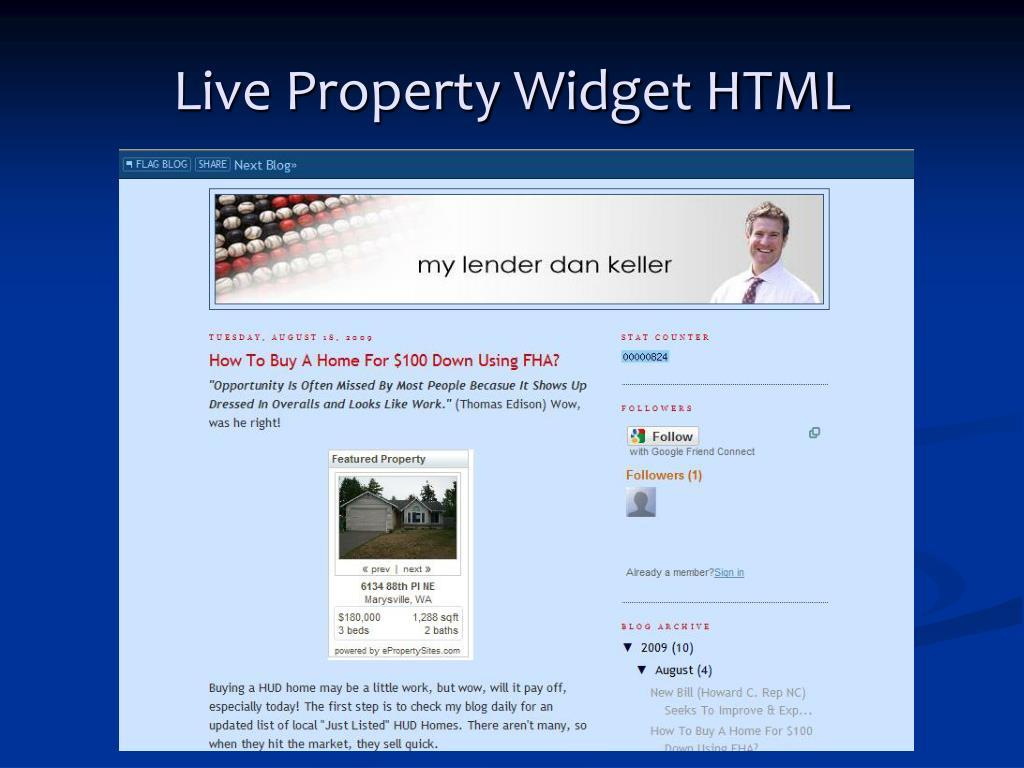 Live Property Widget HTML