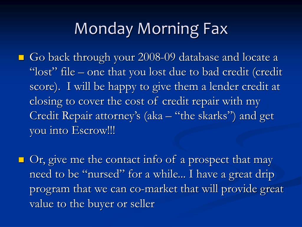 Monday Morning Fax