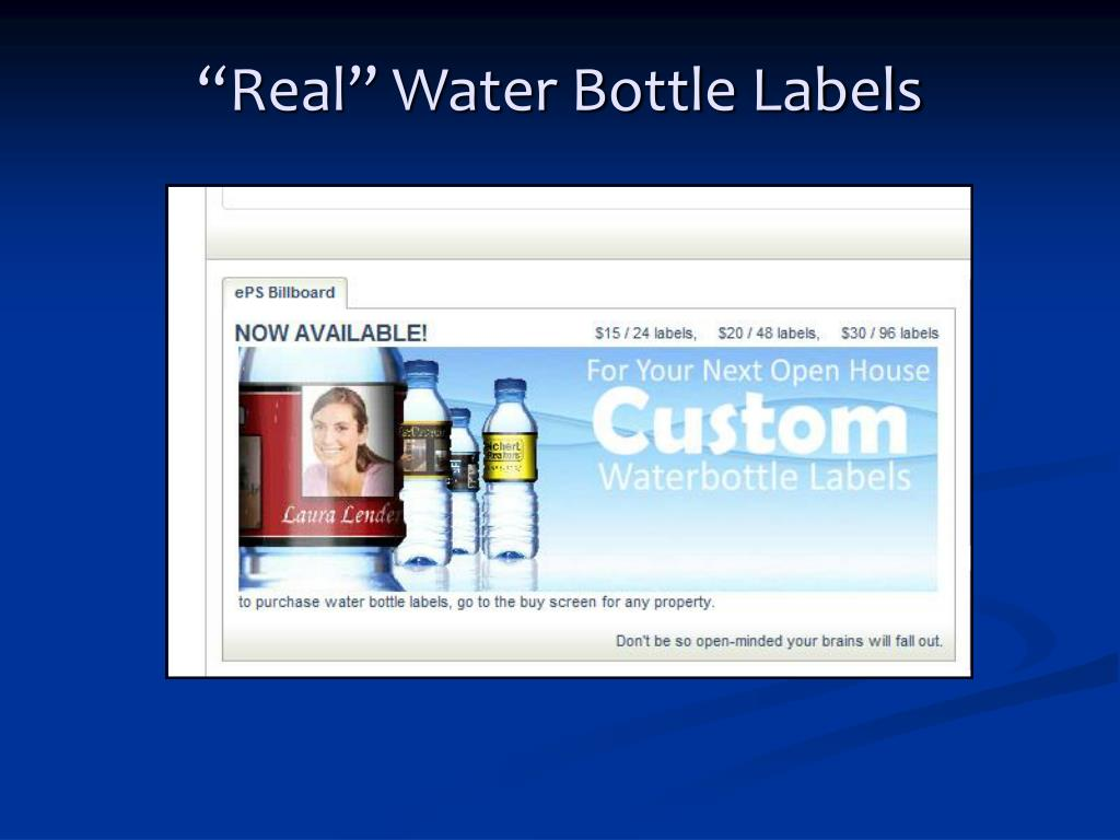 """""""Real"""" Water Bottle Labels"""