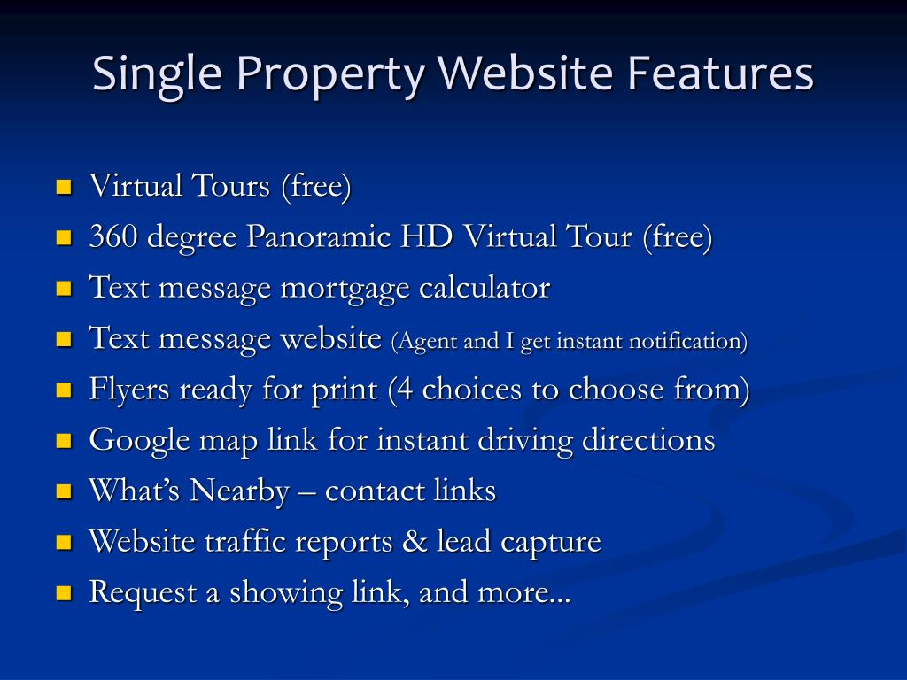 Single Property Website Features