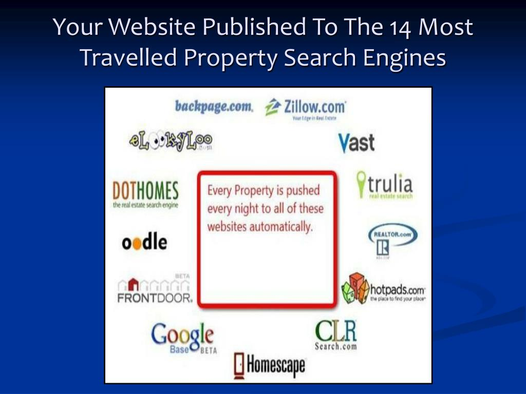 Your Website Published To The 14 Most Travelled Property Search Engines