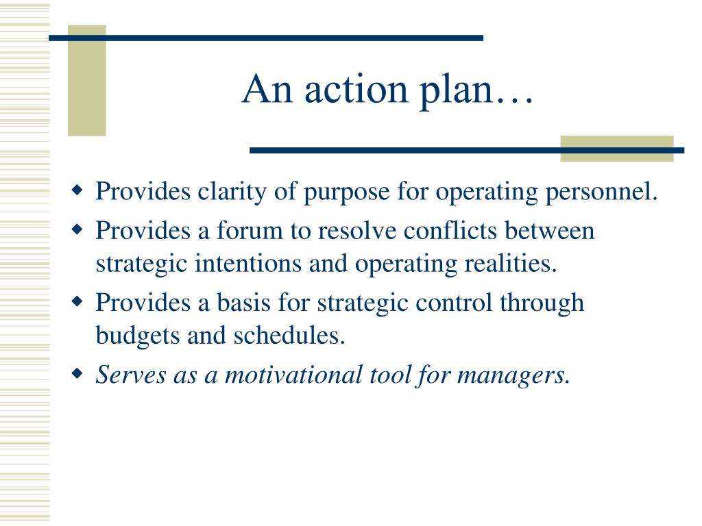 An action plan…