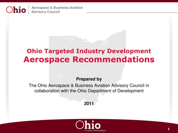 Ohio targeted industry development aerospace recommendations